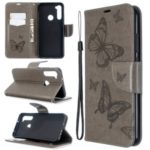 Imprint Butterfly Wallet Leather Stand Case for Xiaomi Redmi Note 8T – Grey