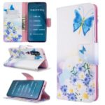 Pattern Printing Leather Wallet Case for Xiaomi Mi CC9 Pro / Mi Note 10 / Mi Note 10 Pro – Blue Butterfly and Flowers