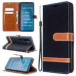 Assorted Color Jeans Cloth Leather Wallet Case for Xiaomi Mi CC9 Pro / Mi Note 10 / Mi Note 10 Pro – Black