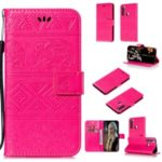 Imprint Elephant PU Leather Wallet Stand Case for Xiaomi Redmi Note 8T – Rose