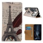 Pattern Printing PU Leather Wallet Stand Phone Case for Xiaomi Redmi K30 – Eiffel Tower and Letters