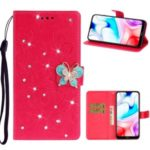 Imprint Flower Butterfly Rhinestone Wallet Leather Case for Xiaomi Redmi 8 – Rose
