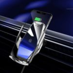 USAMS 15W Wireless Fast Charging Car Charger Automatic Clamping Car Air Vent Phone Holder – Silver