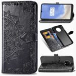 For OnePlus 7T Embossed Mandala Flower Leather Wallet Cell Phone Cover – Black