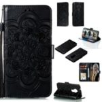 Imprint Surface Malanda Flower Wallet Stand PU Leather Case for Nokia 7.2 – Black