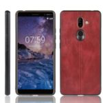 Leather Coated PC + TPU Hybrid Shell Case for Nokia 7 Plus – Red