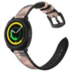 For Samsung Gear Sport (S4) Silicone Cowhide Leather Watch Strap – Pink Camouflage
