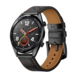 For Huawei Watch GT 22mm with Holes Cowhide Genuine Leather Watch Band – Black