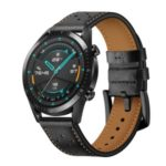 Holes Design Genuine Leather Watch Band 22mm for Huawei Watch GT 2 46mm – Black