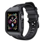 Silicone Smart Watch Strap + Protection Watch Case for Apple Watch Series 5/4 44mm / Series 3/2/1 42mm – Black