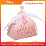 10 PCS Laser Cut Favor with Ribbons Wedding Birthday Party Anniversary Hollow Candy Box Gift – Pink