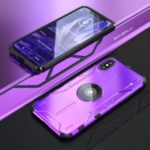 Drop-proof Kickstand Metal Cell Phone Cover for iPhone XS / X – Purple
