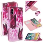 Pattern Printing Cross Texture PU Leather Wallet Case for iPhone XS/X 5.8 inch – Butterflies