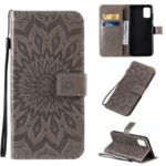Imprint Sunflower Leather Wallet Shell Case for Samsung Galaxy A71 – Grey