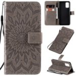 Sunflower Imprint Wallet Leather Casing for Samsung Galaxy S20 Plus/S11 – Grey
