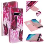 Pattern Printing Cross Texture Leather Wallet Stand Case for Samsung Galaxy S10 – Butterflies