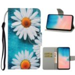 Pattern Printing PU Leather Wallet Phone Cover for Samsung Galaxy S20/S11e – White Flower