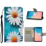 Pattern Printing PU Leather Wallet Phone Casing for Samsung Galaxy S20 Plus/S11 – White Flower