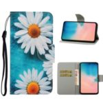 Pattern Printing Flip Leather Wallet Phone Shell for Samsung Galaxy A71 – White Flower