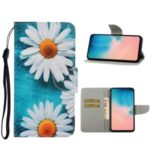 Pattern Printing Wallet Leather Stand Case for Samsung Galaxy A51 – White Flowers