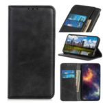 Auto-absorbed Split Leather Wallet Case for Samsung Galaxy A21 – Black