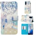 Pattern Printing Light Spot Decor Leather Wallet Case for Samsung Galaxy S20 / S11e – Feather Dream Catcher