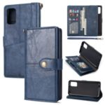 Retro Card Slots Money Pocket Leather Shell for Samsung Galaxy S20 Ultra/S11 Plus – Blue