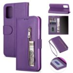 Zipper Pocket Wallet Stand Flip Leather Phone Case with Strap for Samsung Galaxy S20 Plus/S11 – Purple