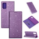 Flash Powder Leather Stand Casing with Card Slot for Samsung Galaxy S20 Plus/S11 – Purple