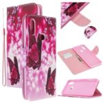 Pattern Printing Cross Texture Wallet Leather Stand Case for Samsung Galaxy A20s – Butterflies