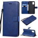 Solid Color Wallet Stand Leather Protective Shell for Samsung Galaxy A51 – Blue