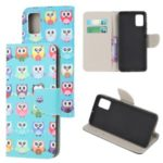 Cross Texture Pattern Printing Flip Leather Wallet Stand Phone Cover for Samsung Galaxy A91 / S10 Lite / M80s – Multiple Cute Owls