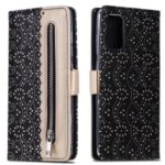 Lace Flower Pattern Zipper Pocket Leather Wallet Cell Phone Cover for Samsung Galaxy S20 Plus – Black