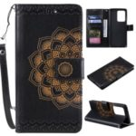 Imprint Malanda Flower PU Leather Wallet Stand Phone Case for Samsung Galaxy S20 Ultra – Black