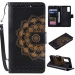 Imprint Malanda Flower PU Leather Wallet Stand Phone Cover for Samsung Galaxy S20 Plus – Black