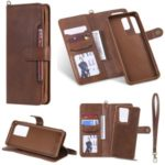 Multi-function Detachable 2-in-1 Leather Wallet Phone Cover for Samsung Galaxy S20 Ultra – Dark Brown