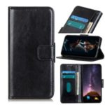 Crazy Horse Wallet Stand Leather Mobile Phone Casing for LG Q70 – Black