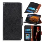 Nappa Texture Split Leather Wallet Stand Phone Case for LG Q70 – Black
