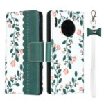 Flower Pattern Wallet Stand Flip Leather Phone Case with Bowknot Lanyard for Huawei Mate 30 Pro – Green