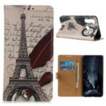 Pattern Printing Wallet Stand PU Leather Case for Motorola Moto G8 Power – Eiffel Tower and Quill-pen