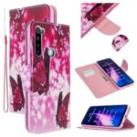 Cross Texture Pattern Printing Leather Wallet Cover for Xiaomi Redmi Note 8 – Butterfly