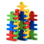 Wood Building Blocks Stacking Game Toy Wooden Assembled Tile Balance Block Game 4 Color 16 Pieces