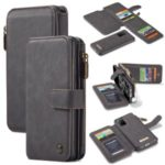 CASEME 007 Series for Samsung Galaxy S20 Plus Split Leather Wallet Cover + Detachable Hybrid Shell – Black