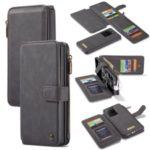CASEME 007 Series Detachable 2-in-1 Zipper Wallet Split Leather Case for Samsung Galaxy S20 Ultra – Black