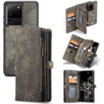 CASEME 008 Series Split Leather Wallet Phone Case for Samsung Galaxy S20 Ultra – Grey