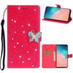Imprint Flower Rhinestone Butterfly Leather Wallet Phone Case for Samsung Galaxy S20 – Red