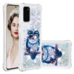 Pattern Printing Glitter Powder Quicksand TPU Phone Case for Samsung Galaxy S20 – Owl