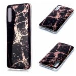 Marble Pattern Electroplating IMD TPU Back Case for Samsung Galaxy A70 – Black