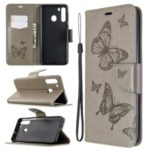 Imprint Butterfly Wallet Leather Stand Case for Samsung Galaxy A21 – Grey
