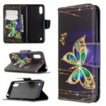 Printing Surface Wallet Stand Flip Leather Phone Covering for Samsung Galaxy A01 – Gold Butterfly